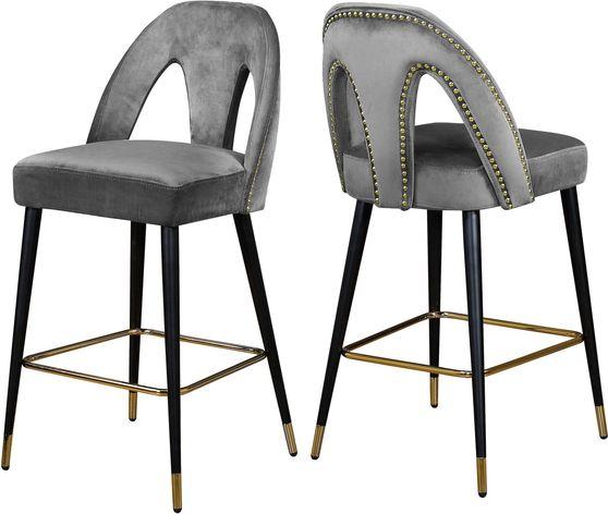 Gray velvet stylish bar stool w/ black/gold legs