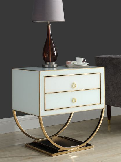 Gold/white contemporary glam style night stand