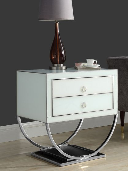 Chrome/white contemporary glam style night stand