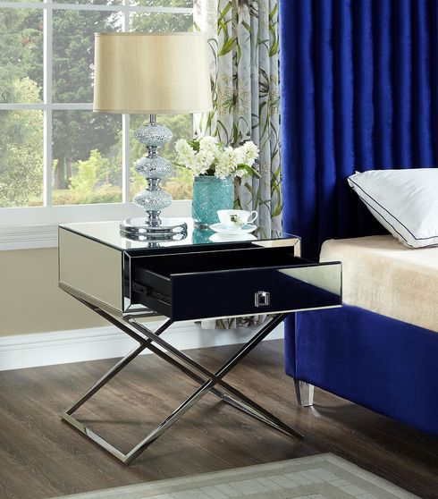 Criss-cross base mirrored night stand / side table
