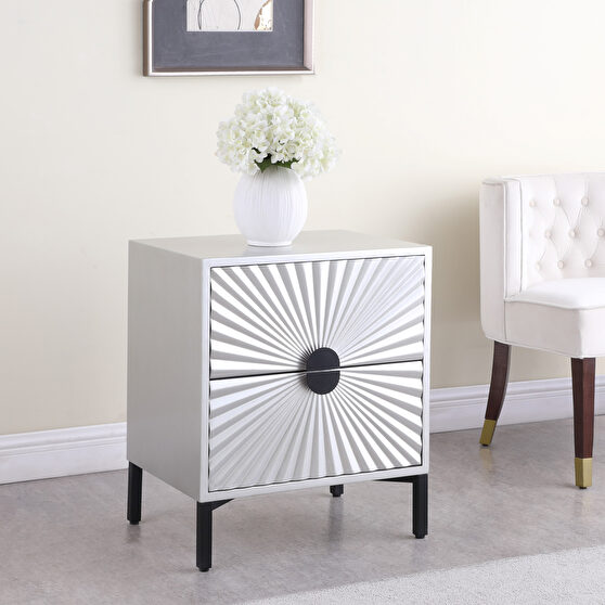 Silver glam style night stand / side table