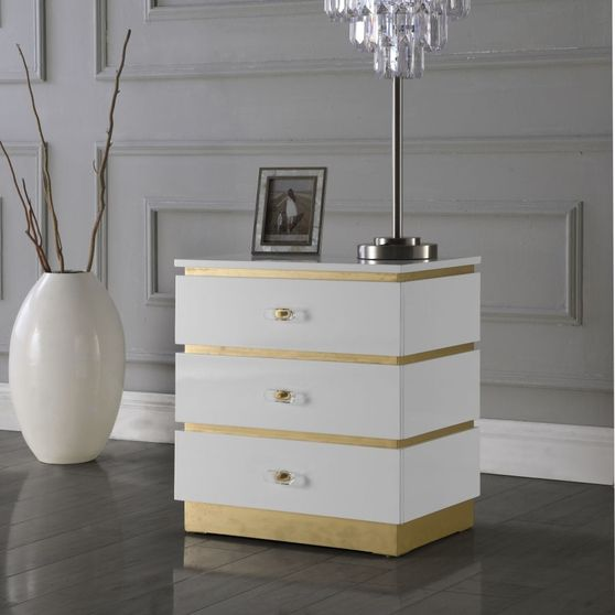 White Lacquer / Gold finish night table