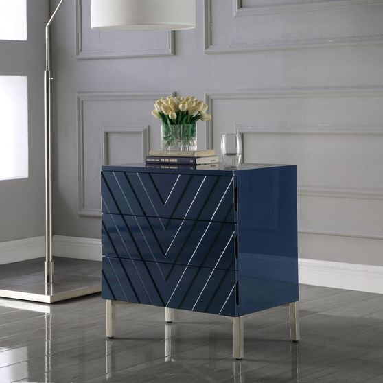 Blue lacquer finish contemporary style night stand