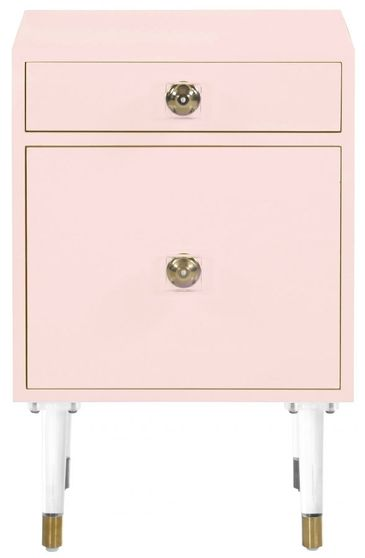 2 drawer pink matte finish night stand w/ gold legs