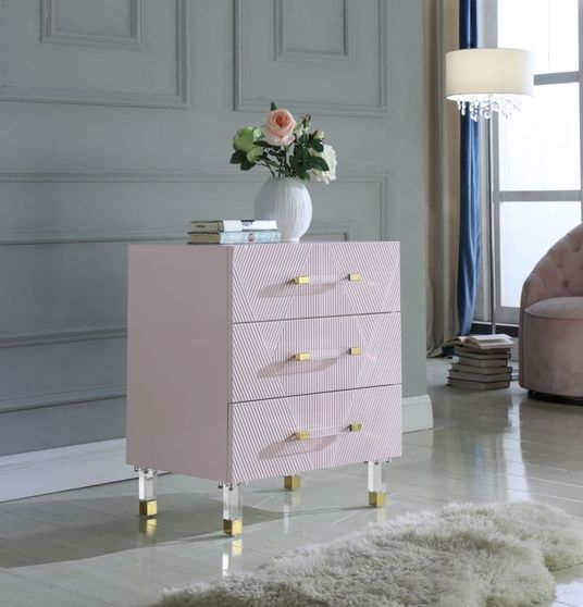 Pink lacquer finish glam style night table
