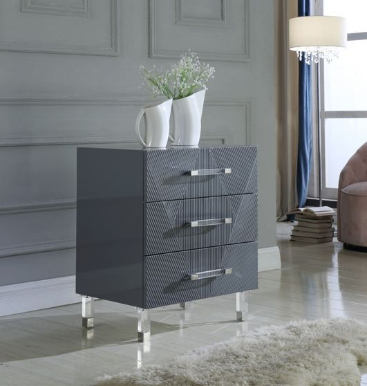 Gray lacquer finish glam style night table