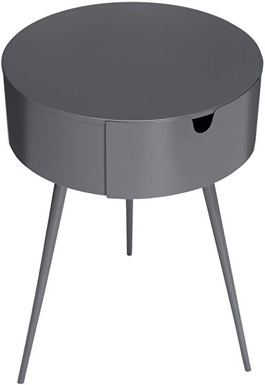 Gray contemporary round side table / night stand