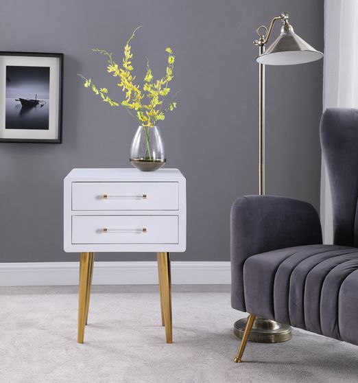 White lacquer / gold legs night stand in glam style
