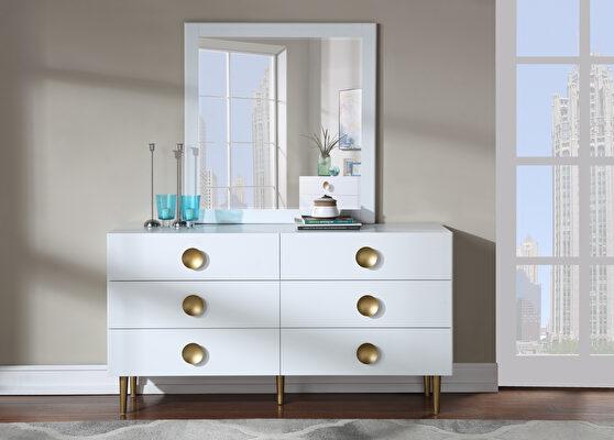 Contemporary white stylish dresser w/ golden legs
