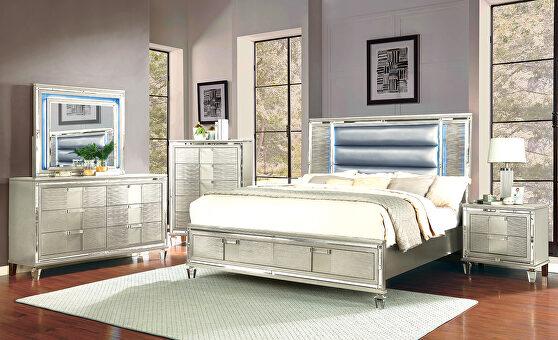 Metallic finish / led lights modern bedroom