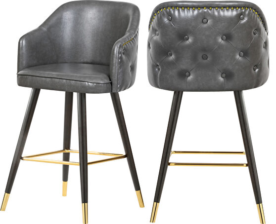 Rounded tufted back faux leather gray / gold bar stool