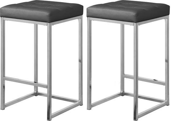 Gray faux leather / chrome metal legs bar stool