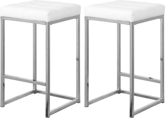 White faux leather / chrome metal legs bar stool