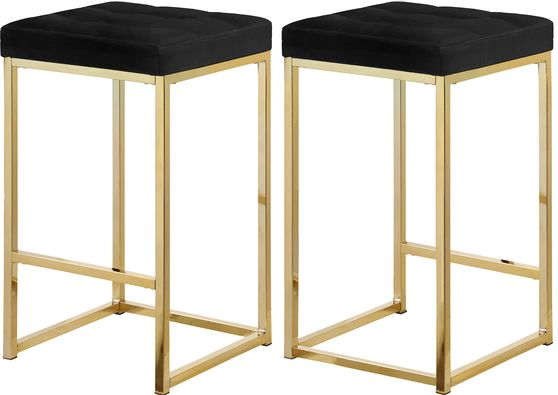 Black velvet / gold metal legs bar stool