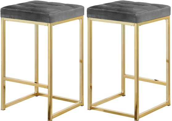 Gray velvet / gold metal legs bar stool