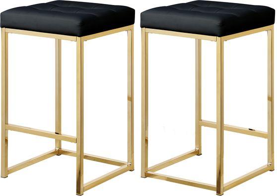Black pvc leather / gold metal legs bar stool