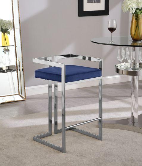 Navy velvet / chrome bar stool