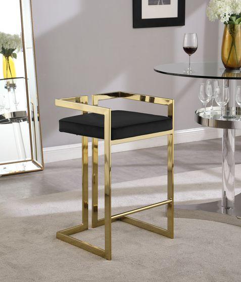 Black velvet gold metal bar stool