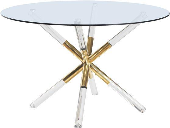 Round glass top / gold base contemporary dining table