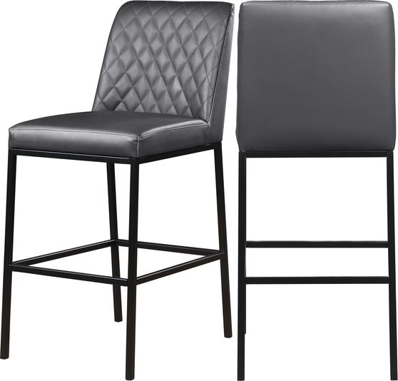 Elegant gray faux leather bar stool