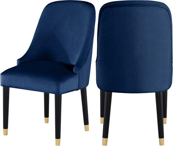 Navy velvet dining chair w/ golden tip legs