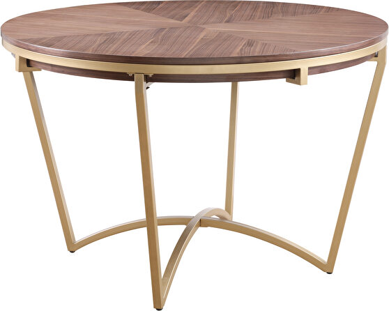 Stylish walnut brown / gold accent round dining table