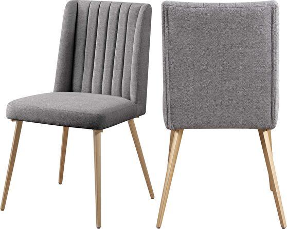 Stylish gray fabric chairs w/ gold legs