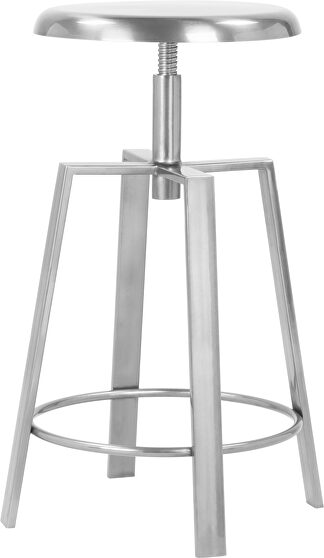 Adjustable silver chrome finish bar stool