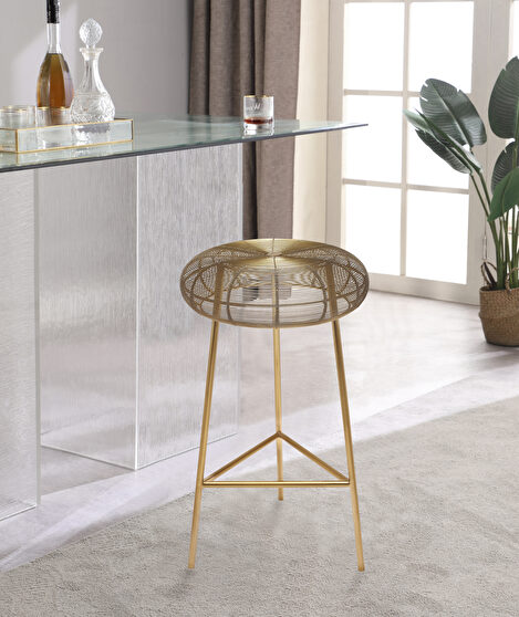 Gold wire style contemporary bar stool