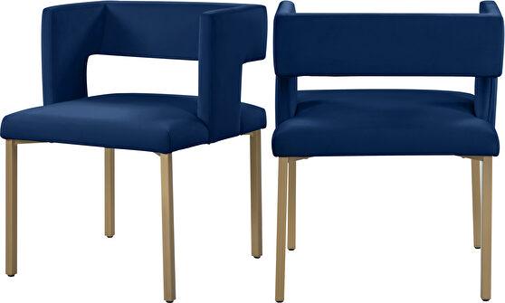 Navy velvet fashionable dining chair