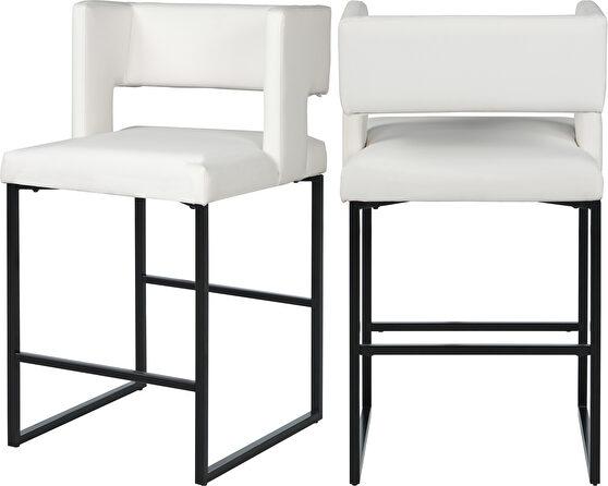 White unique square back bar stool