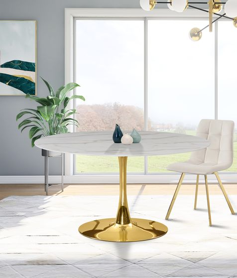 White / glass round marble top / gold base dining table