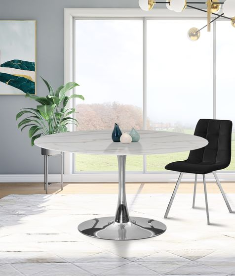 White / glass round marble top / chrome base dining table