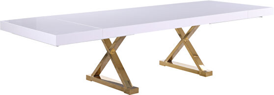 Oversized extension contemporary white/gold dining table