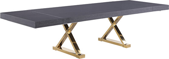 Oversized extension gray / gold dining table