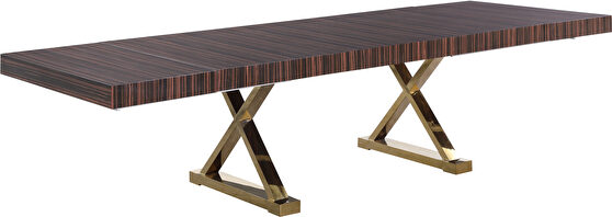 Oversized extension zebra brown / gold dining table
