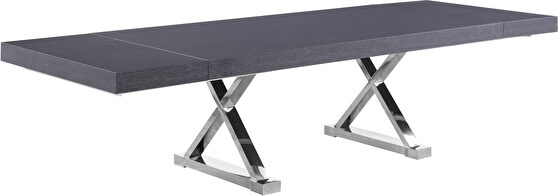 Oversized extension gray/silver dining table