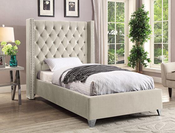 Modern cream high tufted headboard twin bed