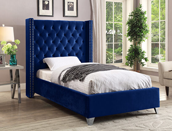 Modern navy blue high tufted headboard twin bed