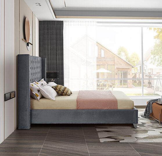 Modern tufted headboard gray velvet full bed