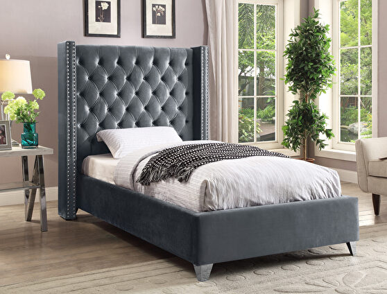 Modern gray high tufted headboard twin bed