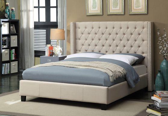 Linen beige fabric tufted headboard design bed