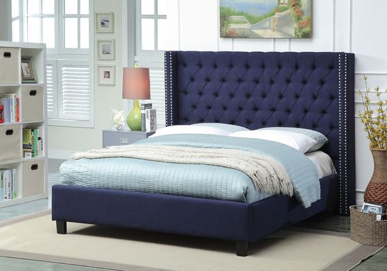 Linen navy fabric tufted headboard design bed