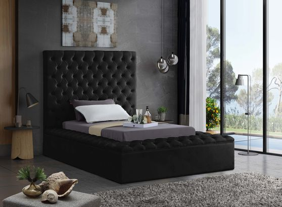 Black velvet tufted twin size bed w/ storage
