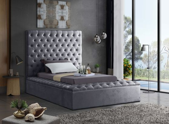 Gray velvet tufted twin size bed w/ storage