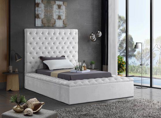 White velvet tufted twin bed w/ storage