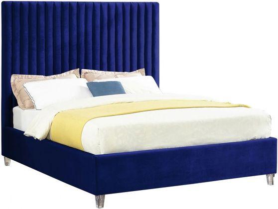 Modern velvet fabric bed w/ platform