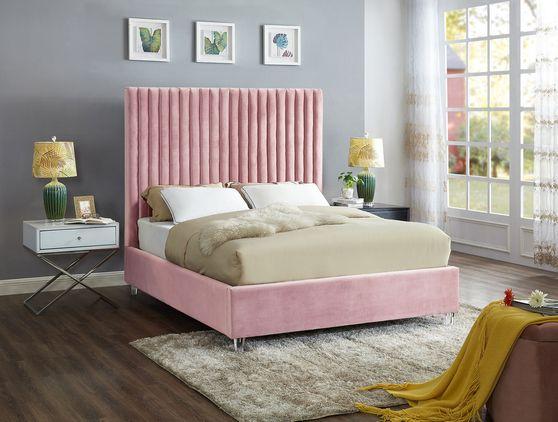 Modern gray velvet fabric bed w/ platform