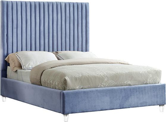 Modern sky blue velvet fabric full bed w/ platform