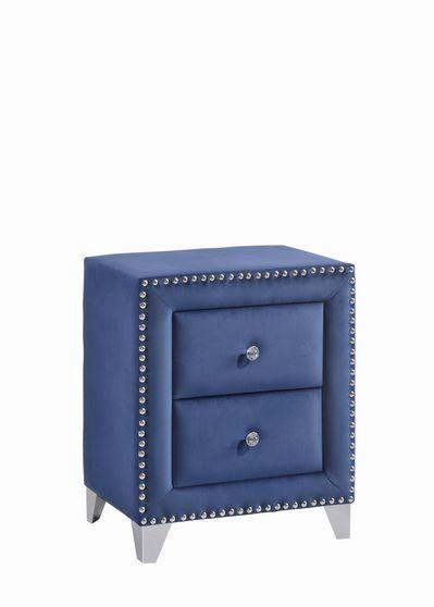 Tufted blue velvet modern night stand